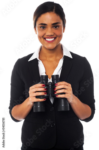 Woman with binoculars looking at you