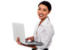 Girl with laptop over white background
