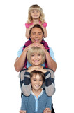 Young lovable happy family poster