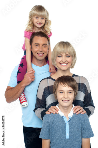 Portrait of happy family of four people