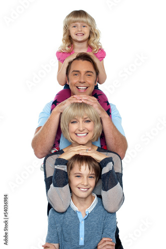 Young lovable happy family