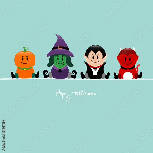 Halloween Pumpkin, Witch, Vampire & Devil Retro