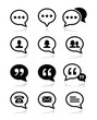Speech bubble, blog, contact vector icons set
