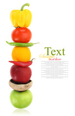 Fruits and vegetables in a row
