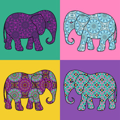Four isolated patterned elephant