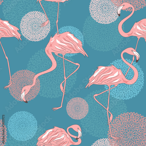 Seamless pattern of flamingos © Annykos