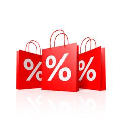 Einkaufstaschen mit Prozenten - 3D Illustration