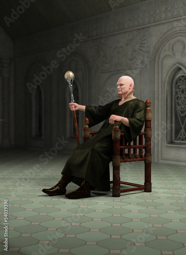 Warlock Sitting in his Throneroom