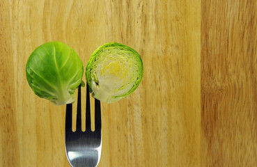 brussel sprout and fork