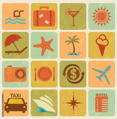 Set of 16 travel,tourism icons