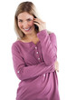 Cheerful woman having phone call