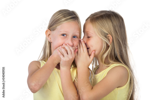 Little girl whispering to her sister
