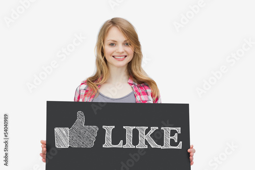 Smiling girl holding panel with thumb up representing social net