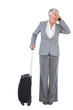 Businesswoman calling and has luggage