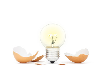 Innovation Bright Ideas Light Bulb Hatching From Egg Shell