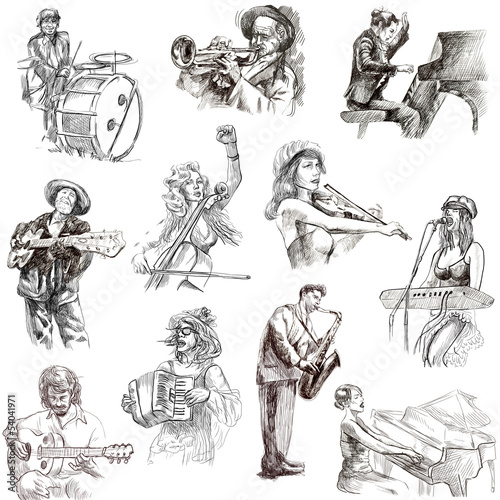 Musicians - An hand drawn illustrations on white