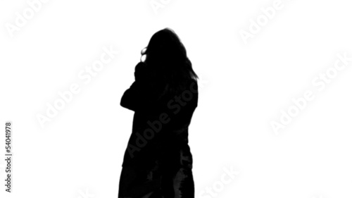 Silhouettes of couple meeting again on white background