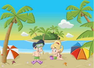 Couple of happy cartoon children playing on tropical beach