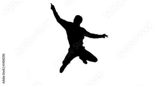 Silhouette of a man doing disco gesturing on white background