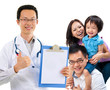 Chinese male medical doctor and young patient family