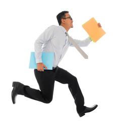Asian businessman in hurry running
