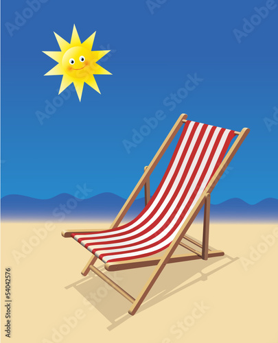 sommerferien liegestuhl meer strand u sonne von bobo lizenzfreier vektor 54042576 auf. Black Bedroom Furniture Sets. Home Design Ideas