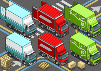 Isometric Delivery Trucks in Front View