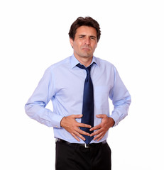 Latin adult man with stomach pain