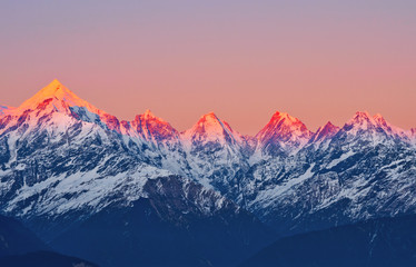 """scene of sunset on Mountain Peaks """"panchachuli"""