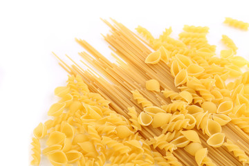 Yellow Italian pasta in different forms