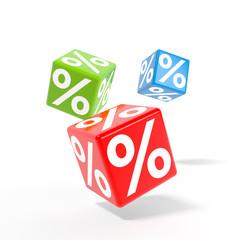 Rollende Würfel mit Prozenten - Rabattaktion / 3d Illustration