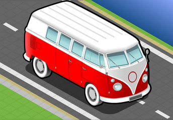 isometric Bicolor Van in Front View