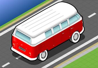 Isometric Bicolor Van in Rear View