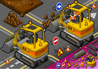 Isometric Mini Excavator in Rear View