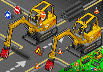 Isometric Mini Mechanical Arm Excavator in Front View