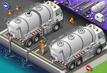 Isometric Liquid Tank Truck in Rear View