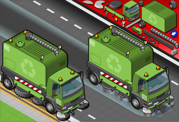 Isometric Garbage Cleaner Truck in Front View