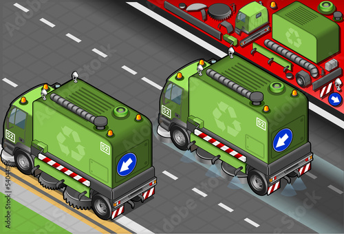 Isometric Garbage Cleaner Truck in Rear View