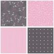 kolorowe kwiaty chabry szary różowy zestaw papierów