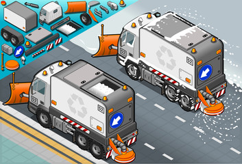 isometric Snow Plow Truck in Rear View