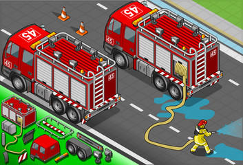 Isometric Firefighter Truck in Rear View