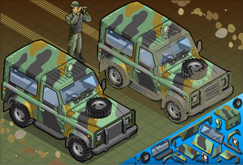 Isometric Military Jeep with Soldier in Front View