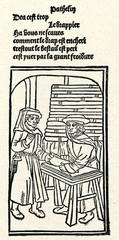 La Farce de maître Pierre Pathelin (with textile merchant)