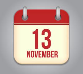Vector November 13 calendar app icon