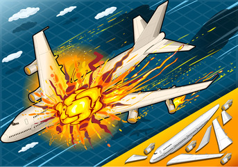 Isometric Explosion of Airplane Falling Down