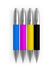 Colored Pens CMYK Cyan Magenta Yellow Black isolated on white