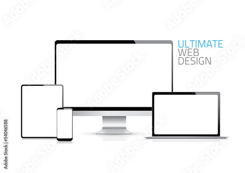 Computer, laptop, tablet, phone displays vector eps10
