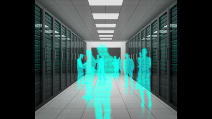 Animation of a trip through data center with silhouettes