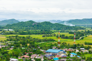 Aerial view of a village in Ratchaburi, Thailand
