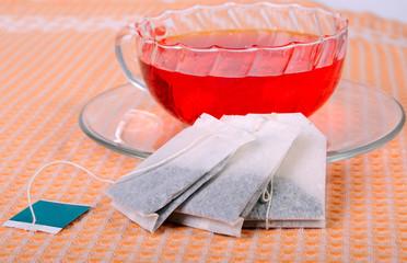 Teacup and tea bags